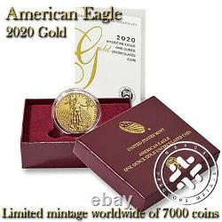Confirmé 2020 W American Eagle Gold Uncirculated One Ounce Us Mint Coin 20eh