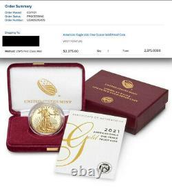 En Main, Gold Eagle 2021 W, 1 Oz Gold Proof 21eb, Épuisé, Seulement 12 700 Minted