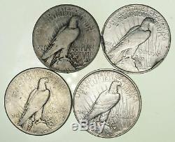 En Vrac Lot Cull (4) 1922-1925 Peace Silver Dollar 90% D'eagle Collection 1/5 Rouleau