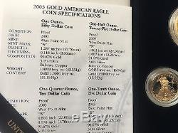 Ensemble Américain Eagle Mint 2003, Preuve De Pièces D'or