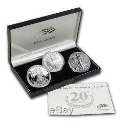 Ensemble De 3 Pièces D'argent American Eagle 20th Anniversary 2006 Emballage D'origine
