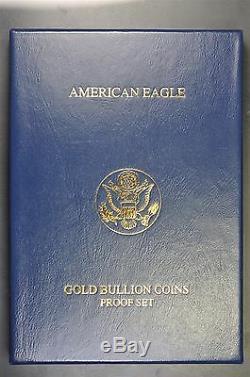 Ensemble De 4 Pièces W 2014 D'or Américain Eagles Avec Boite D'origine Et Coa