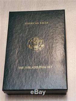 Ensemble De 5 Pièces Avec Orfèvrerie Eagle 1993 Us Philadelphia Proof, Or Et Argent