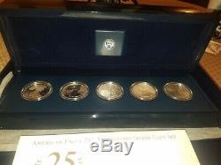 Ensemble De Pièces Silver Eagle 5 Du 25e Anniversaire 2011, Première Épreuve À L'envers Et Un Monnaie S