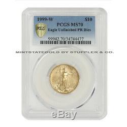 Erreur Eagle Pcgs Ms70 Gold De 1999-w À 10 $ Frappée Avec Des Matrices De Preuve Inachevées