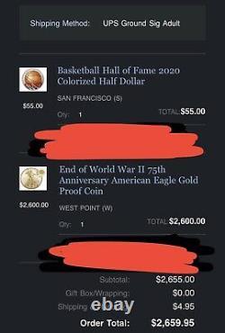 Fin De La Seconde Guerre Mondiale 75e Anniversaire American Eagle Gold Proof Coin Mint Scellé