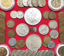 Gold Platinum & Argent Bullion Us Collection De Pièces Lot 1 Oz. 999 Eagle Coins 100+