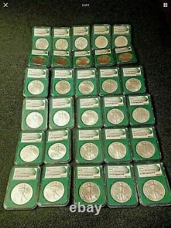 Green Us Mint Sealed Box Silver Eagle Set 1986-2019 Ngc Ms69. 36 Pièces Au Total