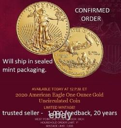 In Hand Sealed Mint Pkg American Eagle 2020 (w) One Ounce Gold Uncirculated Coin