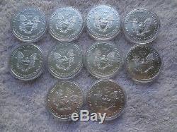 La Moitié Eval Terrain 10 Américain Silver Eagles 1 Oz Gem Bu Au Hasard Date De Plastique Capsule