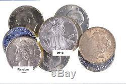 Lot 20 Pièces 2019 American Eagle, 1921 Morgan, Peace & Ike Silver Dollar Rouleau