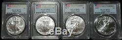 Lot 4 Ans 2017 2018 2019 2020 Argent Eagles Pcgs Ms70 First Strike