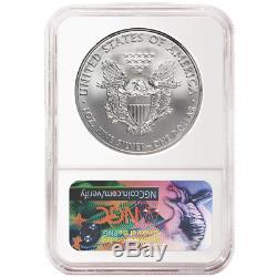 Lot De 100 2017 1 Dollar Américain Silver Eagle Ngc Ms69 Premières Versions Étiquette Bleue Er