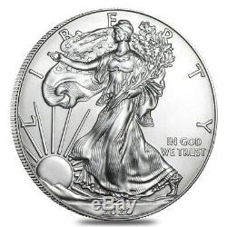 Lot De 100 2020 1 Oz D'argent American Eagle 1 $ Coin Bu (5 Roll, Tube De 20)