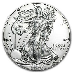 Lot De 100 2021 1 Oz American Silver Eagle Bu Coin (5 Rouleaux Avectube De 20)