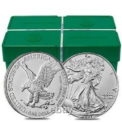 Lot De 100 2021 1 Oz Silver American Eagle $1 Coin Bu Type 2 5 Rouleau, Tube De