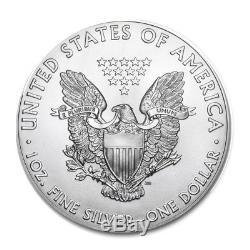 Lot De 100 Silver 2018 American Eagle 1 Oz. 999 $ Us Pièce De 5 Rouleaux De Menthe Us