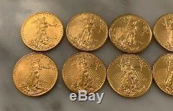Lot De 10 1/10 Oz D'or American Eagle Pièce De 5 $ Bu (2016-2018)