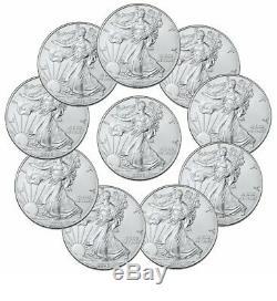 Lot De 10 1 Oz American Eagle Argent 1 $ Coins