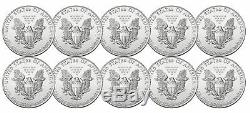 Lot De 10 2015 1 $ 1 Once D'argent American Eagle Bu