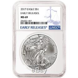 Lot De 10 2017 1 Dollar Américain Silver Eagle Ngc Ms69 À Libération Anticipée Étiquette Er Bleue