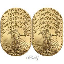 Lot De 10 $ 2018 10 Américaine Gold Eagle 1/4 Oz Brillant Uncirculated