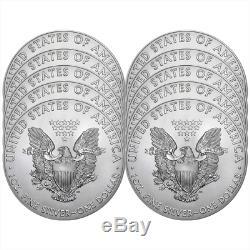 Lot De 10 2019 $ 1 American Silver Eagle 1 Oz Brillant Non Circulé