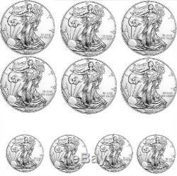Lot De 10 2020 1 Oz American Silver Eagle 1 Gem Bu $ Pièces Prévente