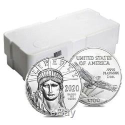 Lot De 10 2020 1 Oz Platinum American Eagle $ 100 Coin Bu
