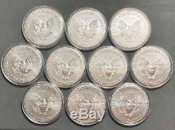 Lot De 10 2020 Argent American Eagle 1 $ Pièces 1 Oz. Bu Frais De Monnaie Rouleau