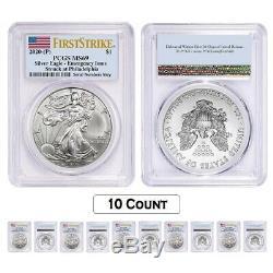 Lot De 10 2020 (p) Question 1 Oz D'argent American Eagle Pcgs Ms 69 Fs D'urgence