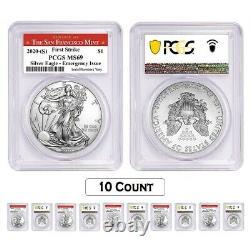 Lot De 10-2020 (s) 1 Oz Silver American Eagle Pcgs Ms 69 Fs (sf) Question D'urgence
