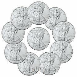 Lot De 10 2021 American Silver Eagle T-1 Bu Brilliant Uncirculated Coins