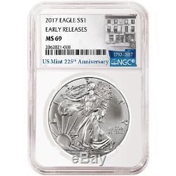 Lot De 10 American Eagle Eagle Ngc Ms69 2017 1 Er Anniversaire, 1 Dollar Américain