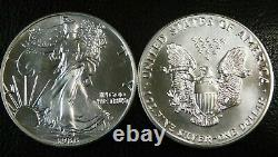 Lot De 10 American Silver Eagles $1 Bu Half Roll 1 Once Oz Ase