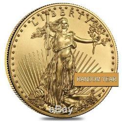 Lot De 10 Bu De 5 $ Us (année Aléatoire) De 10 1/10 Oz D'or American Eagle