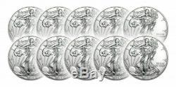 Lot De 10 Oz 2019 American Silver 1 Eagle 1 $ Coin Bu