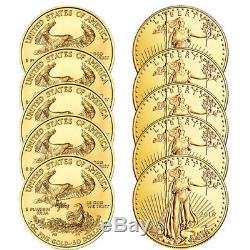 Lot De 10 Pièces Aléatoires American Eagle $ 50 Gold Date $ Au Hasard 1 Bank Wire Paiement Uniquement