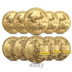 Lot De 10 Pièces D'or De 1 Once American Eagle De 50 $ (année Aléatoire)