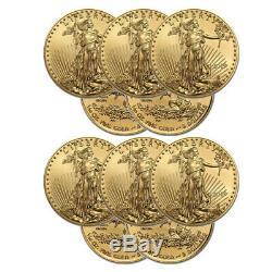 Lot De 10 Pièces D'or Gold 2019 Gold Pièces D'or Avec Aigle Américain - $ 5 Us