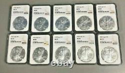 Lot De 10 Silver 2020 Ms 70 American Eagle 1 Oz Brown Label. 999 Pièces De Monnaie Du Mbac Fines