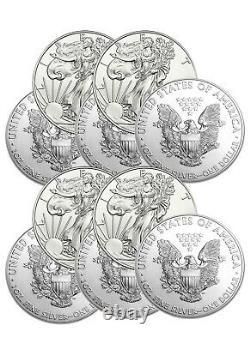 Lot De 10 Silver American Eagle 1 Oz. 999 Argent Fin Random Date Eagle Coins