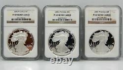 Lot De 13, Proof American Silver Eagles, 2002-2015 Ngc Graded Pf69 Ucam