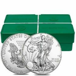 Lot De 200 2021 1 Oz Silver American Eagle $1 Coin Bu (10 Roll, Tube De 20)