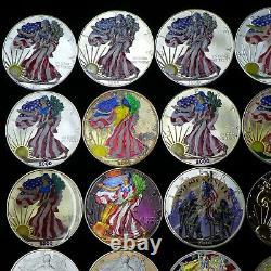 Lot De (20) 1 Oz D'argent Eagles Américains (19 Colorisation) Dates Mixtes