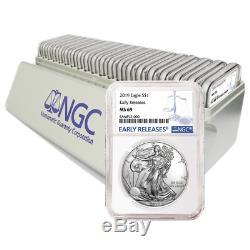 Lot De 20 2019 $ 1 American Eagle Eagle Ngc Ms69 Bleu Er Avec Boîte De Rangement Ngc
