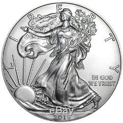 Lot De 20 2019 $ 1 American Silver Eagle 1 Rouleau Plein Non Circulé Brillant De 1 Oz