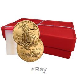 Lot De 20 2019 $ 50 Américain Gold Eagle 1 Oz Brillant Uncirculated Rouleau Plein