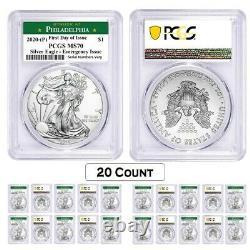 Lot De 20-2020 (p) 1 Oz Silver Eagle Pcgs Ms 70 Fdi Philadelphia Emergency Issue