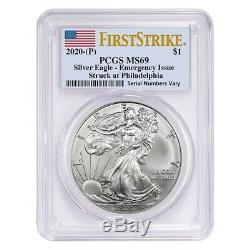 Lot De 20 2020 (p) Question 1 Oz D'argent American Eagle Pcgs Ms 69 Fs D'urgence